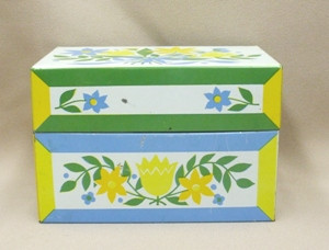 Vintage Metal w Blue & Yellow Flowers Kitchen Recipes Box - Product Image