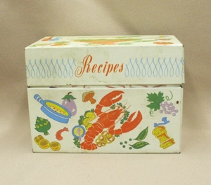 Vintage Metal w Lobster Kitchen Recipes Box - Product Image