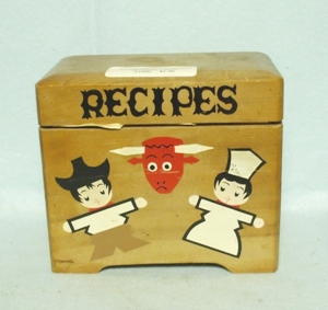 Vintage Wood Kitchen Decorated Recipes Box - Product Image