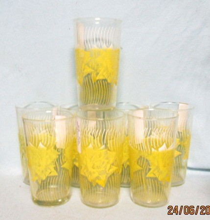 "Yellow Roses w Lines 5"" Tumbler Set of 8 - Product Image"