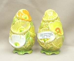 Yellow,Orange,& White Flowered Salt & Pepper - Product Image