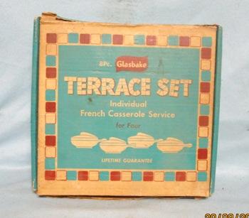 Glasbake 8 Pc Terrace Set 4 French Casseroles NIB - Product Image