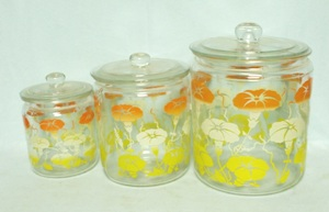 Anchor Hocking Canisters w White, Yellow and Orange Morning Glories - Product Image
