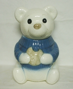 White Teddy Bear w Lt. Blue Jacket Cookie Jar - Product Image
