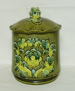 Tilson (Japan) Green & Yellow Flowered Cookie Jar - Product Image