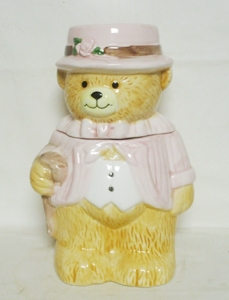 Unmarked Small Bear in Pink Cookie Jar - Product Image