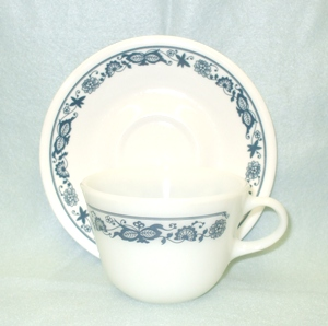 Corelle Old Town Blue Pyrex Cup & Saucer Set - Product Image