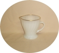 Fire King Anchorwhite w Gold Trim Shell Creamer - Product Image