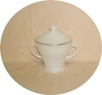 Fire King Anchorwhite w Gold Trim Shell Sugar & Lid - Product Image