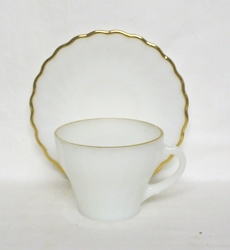 Fire King Anchorwhite w Gold Trim Shell Cup & Saucer - Product Image