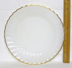 "Fire King Anchorwhite w Gold Trim Shell 9 1/8"" Dinner Plate - Product Image"