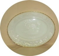 "Fire King Anchorwhite w Gold Trim Shell 11 1/2"" x 15 1/2"" Serving Platter - Product Image"