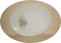 Fire King Forget-Me-Not Oval Serving Platter. - Product Image