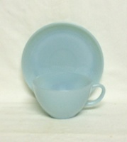 Fire King Turquoise Blue Cup and Saucer Set - Product Image