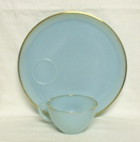 "Fire King Turquoise Blue 9"" Snack Plate & Cup - Product Image"