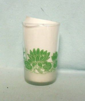 "Frosted Base w Green Water Lilies 3 1/2"" Juice Glass - Product Image"