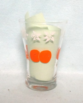 "Oranges & Blossoms Heavy Base Flaired 3 3/4"" Juice Glass - Product Image"