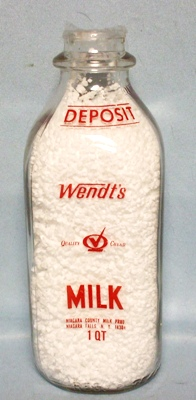 Wendt's Dairy Square Quart Niagara Falls N.Y. Milk Bottle - Product Image