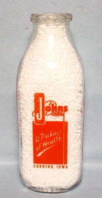 John's Dairy Corning Iowa Square Quart Milk Bottle - Product Image