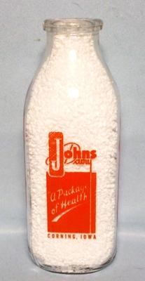 John's Dairy Corning Iowa Square Quart Milk Bottle - Product Image