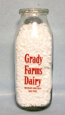 Grady Farms  Waterloo Ia.1 Pint Square Milk Bottle - Product Image