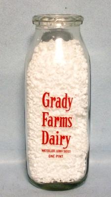 Grady Farms  Waterloo Ia.1 Pint Square Milk Bottle - Product Image