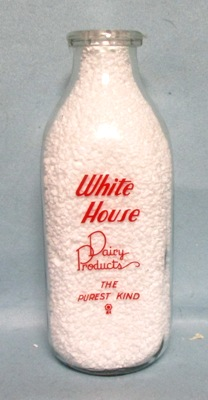 White House Dairy Products The Purest Kind 1 Quart Square Milk Bottle - Product Image
