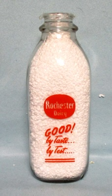 Rochester Dairy Good By Taste By Test 1 Quart Square Milk Bottle - Product Image
