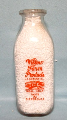 Willow Farm Products La Grange ILL. 1 Quart Square Milk Bottle - Product Image