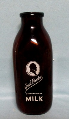Gail Borden Amber 1 Quart Square Milk Bottle - Product Image