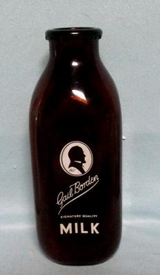 Gail Borden Amber 1 Quart Square Milk Bottle - Product Image
