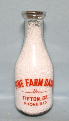 Pine Farm Dairy Tifton GA 1 Quart Round Milk Bottle - Product Image