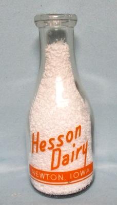 Hesson Dairy Newton Ia. 1 Quart Round Milk Bottle - Product Image