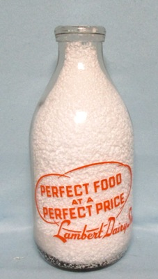 Lambert Dairy Shop.1/2 Gal  Round Milk Bottle - Product Image