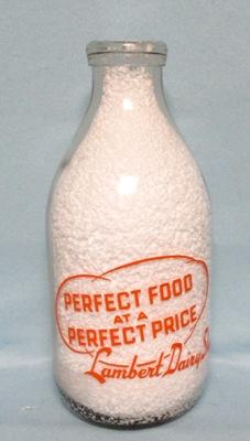 Lambert Dairy Shop.1/2 Gal  Round Milk Bottle - Product Image
