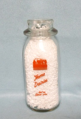 Home Dairy Let Us Serve You 1/2 Pint Square Milk Bottle - Product Image