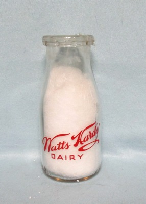 Watts Hardy Dairy Round Pyro 1/2 Pint Milk Bottle - Product Image