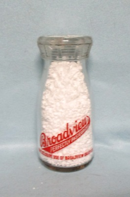 Broadview Perfectly Pastuerized,1/2 Pint Round Milk Bottle - Product Image