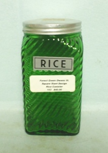 Forest Green Owens Ill. Square Slant Design Flour Shaker - Product Image
