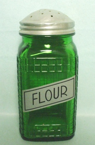 Forest Green Owens Ill. Square Checkered Design Sugar Shaker - Product Image