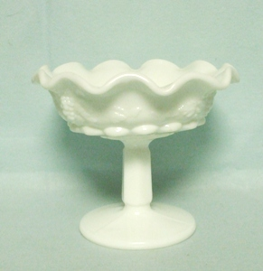 "Westmoreland Paneled Grape Milkglass 6"" Ruffled Compote - Product Image"