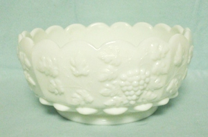 "Westmoreland Paneled Grape Milkglass 8"" Cupped Bowl - Product Image"