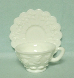Westmoreland Paneled Grape Milkglass Cup & Saucer - Product Image