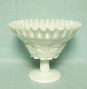 Westmoreland Paneled Grape Milkglass Crimp & Bell Compote - Product Image