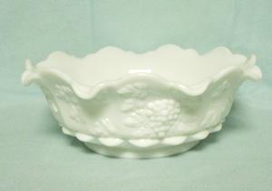 """Westmoreland Paneled Grape Milkglass 9"""" Lipped Bowl - Product Image"""