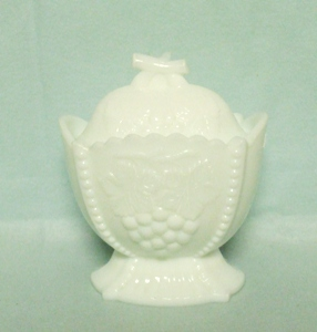 Westmoreland Milkglass Grapes & Cherries Sugar & Lid - Product Image