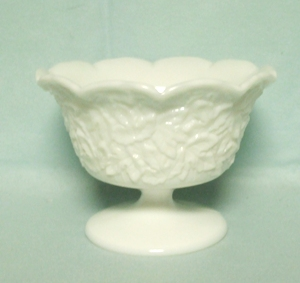 "Westmoreland Milkglass Maple Leaf Round Crimped Ftd 6"" Bowl - Product Image"