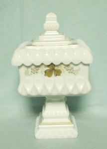 Westmoreland Milkglass Wedding Bowl w/ Gold Leaves & Grapes - Product Image