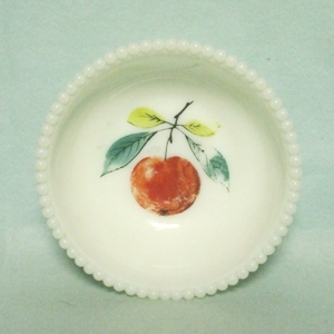 "Westmoreland Milkglass Beaded Edge w Apple 5"" Bowl - Product Image"