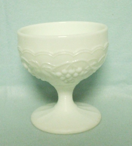 Imperial Glass Milkglass Grape Pattern Footed Sherbert - Product Image